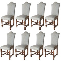 Set of Eight Venetian Back Dining Side Chairs