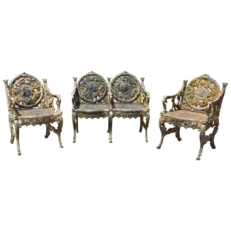 """Set of Victorian Cast Iron """"Four Seasons"""" Garden Seat Furniture by Northampton For Sale"""