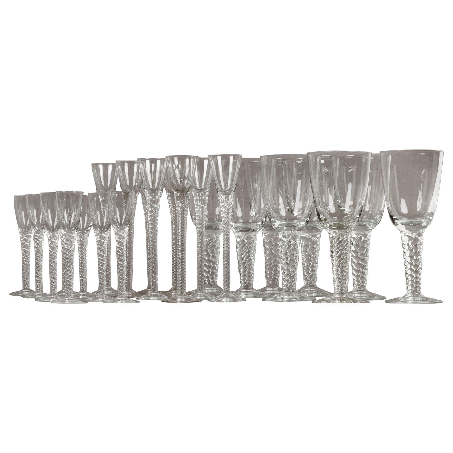 """Set of Vintage Danish """"Twist"""" Glasses by Holmegaard Glassworks, 1960s"""