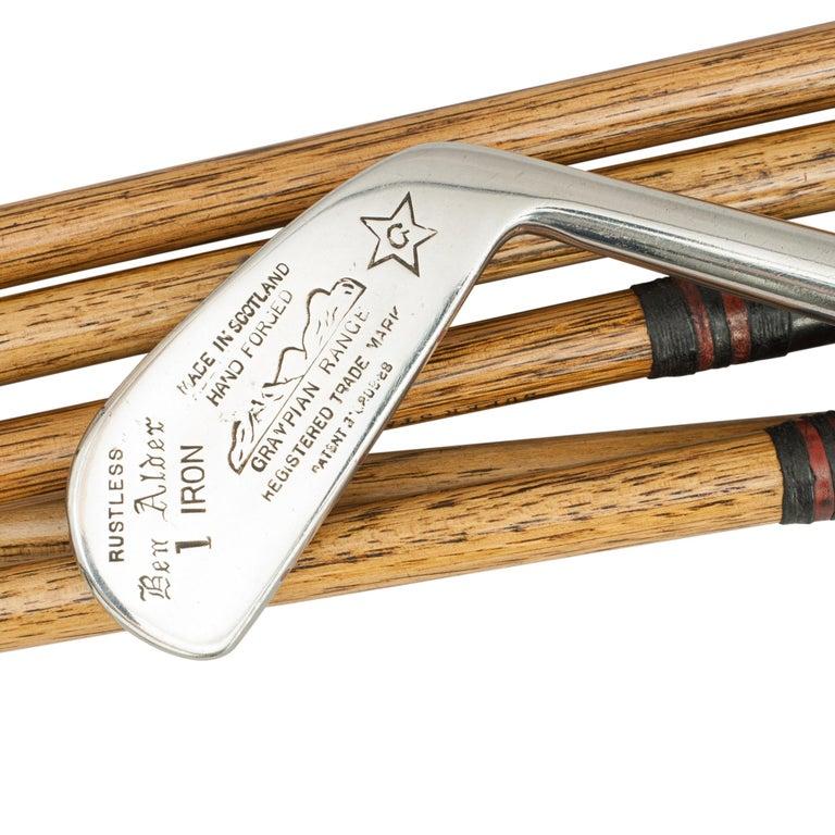 Set of eight Gibson Hickory golf clubs. A good set of eight hickory shafted golf clubs by Gibson of Kinghorn, Scotland. The set includes No.1 & No.2 irons, deep face Mashie, No.8 Niblick, No.6 Mashie Niblick, No.9 putter, Driver and Brassie (there