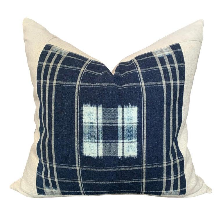 Japonisme Set of Vintage Japanese Indigo Plaid Pillows For Sale