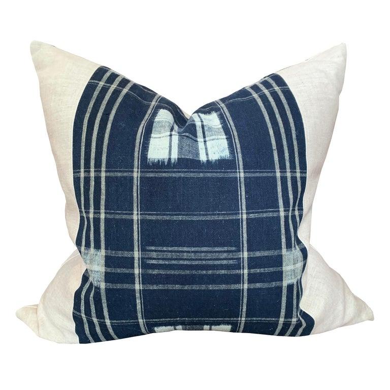 Dyed Set of Vintage Japanese Indigo Plaid Pillows For Sale