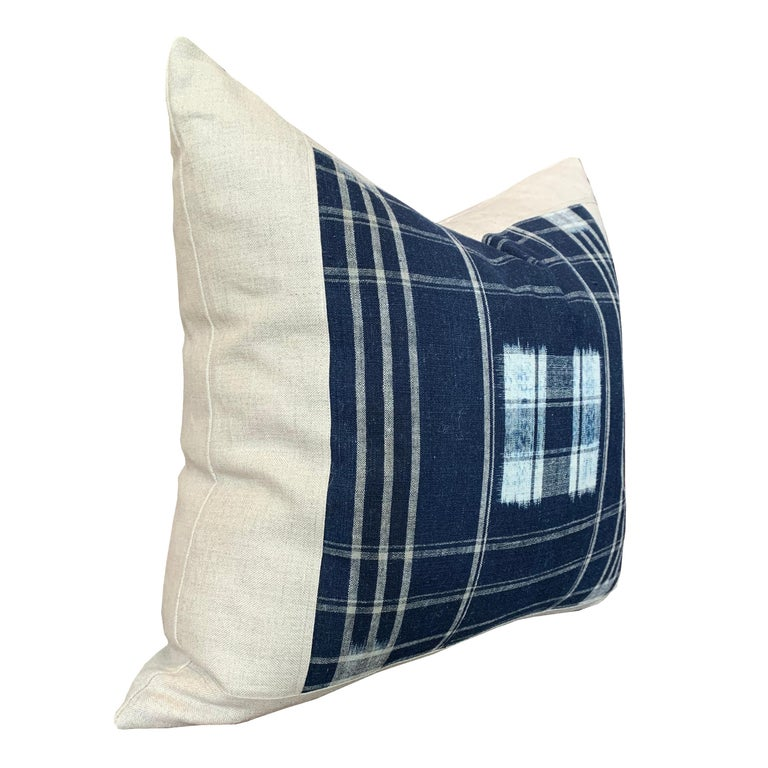 Set of Vintage Japanese Indigo Plaid Pillows In New Condition For Sale In Chicago, IL