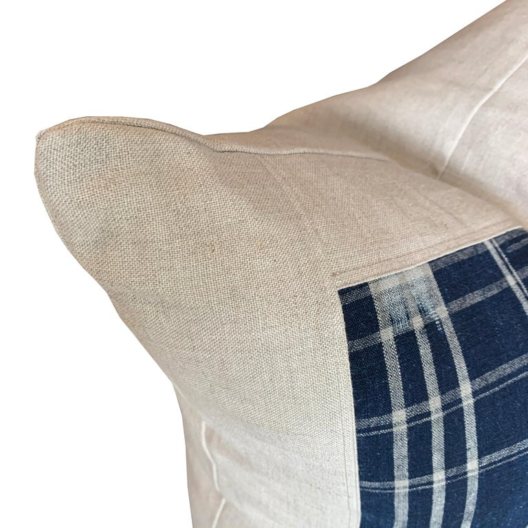 Contemporary Set of Vintage Japanese Indigo Plaid Pillows For Sale