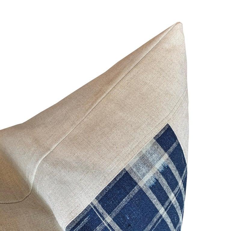 Cotton Set of Vintage Japanese Indigo Plaid Pillows For Sale