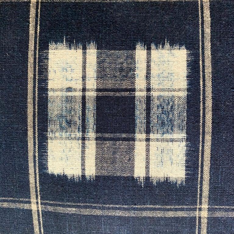 Set of Vintage Japanese Indigo Plaid Pillows For Sale 1