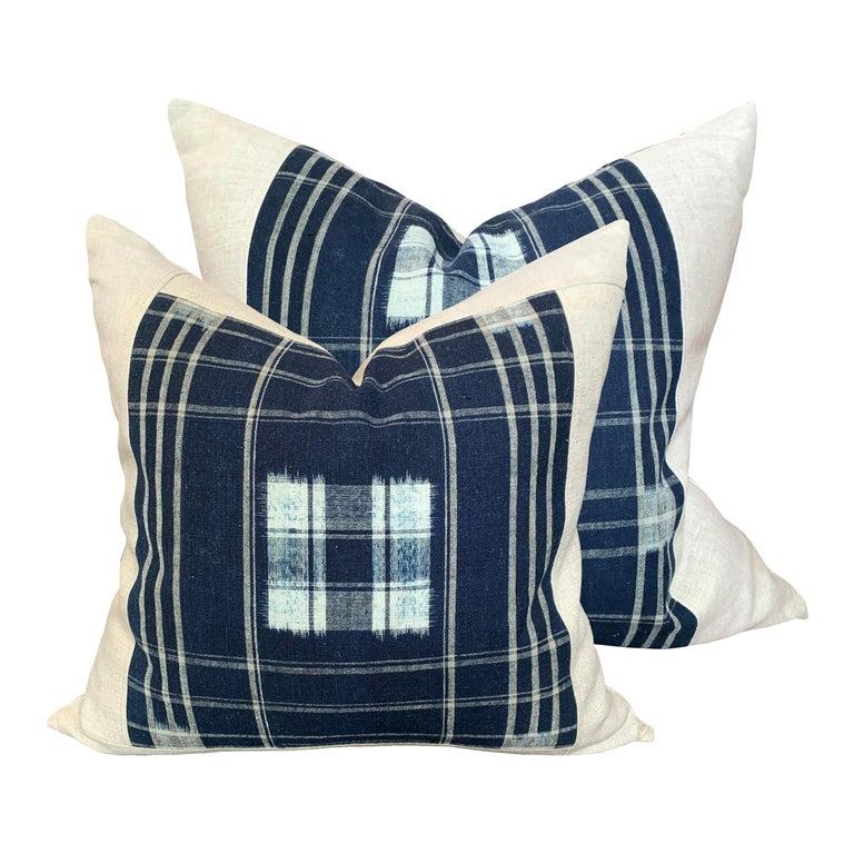 Set of Vintage Japanese Indigo Plaid Pillows For Sale