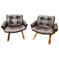 Set of Vintage Leather Lounge Chairs by Solheim for Rykken