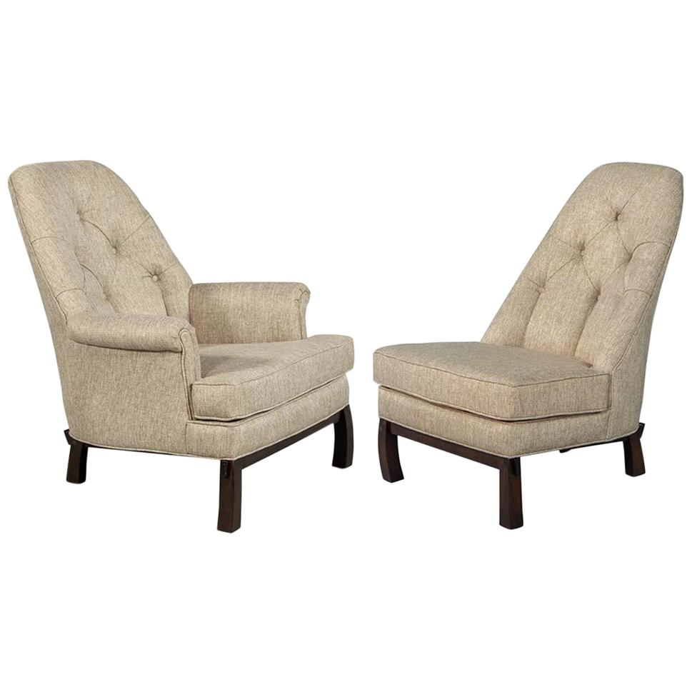 Set of Vintage Mid-Century Modern High Back Lounge Chairs