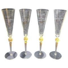 Set of Vintage Murano Glass Champagne Flutes Signed Giovanni Cewoler