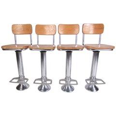 Set of Vintage Oak and Steel Barstools