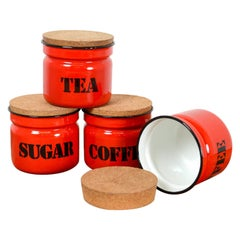 Set of Vintage Polish Red Enamel Canisters, 20th Century