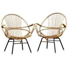 Set of Vintage Rattan Chairs, 1950s