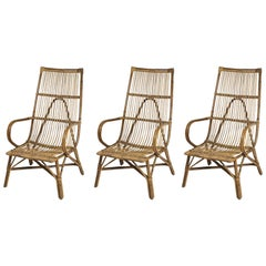 Set of Vintage Rattan Furniture Comprising Three Armchairs and Table, circa 1960
