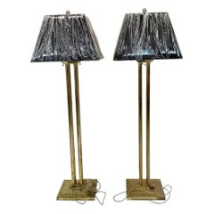 Set of Vintage Standard Lamp with Black and Gold Shades