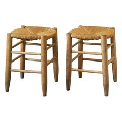 Set of Vintage Stools in Wood with Woven Rush Seat, France, 1950s