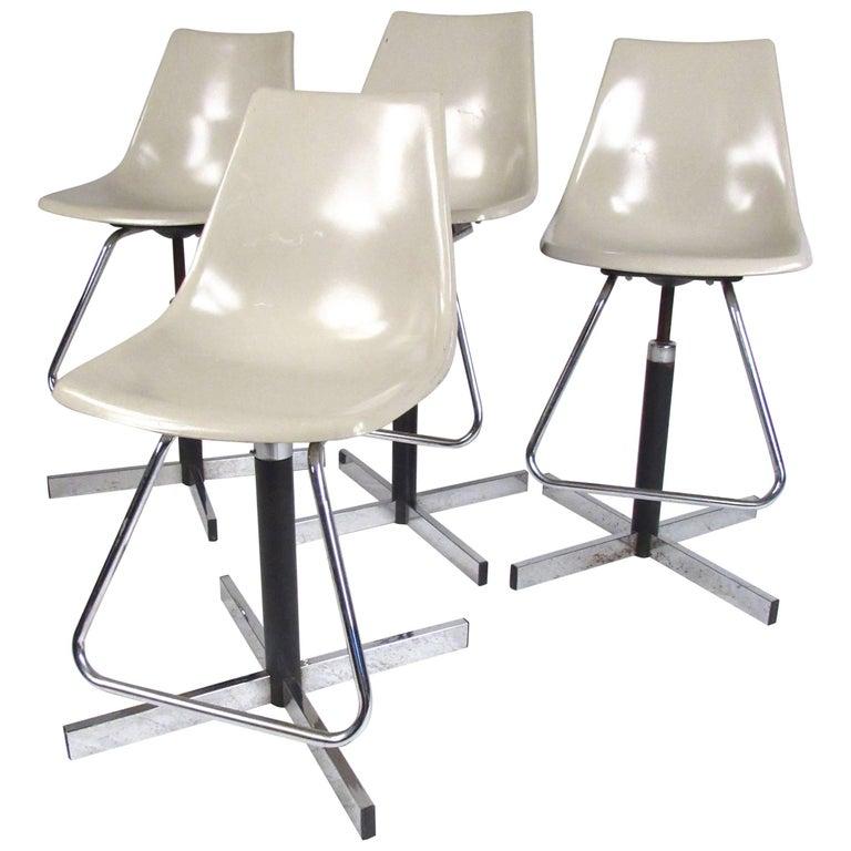 Set of Vintage Swivel Adjustable Barstools For Sale
