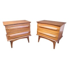 Set of Vintage Walnut Nightstands