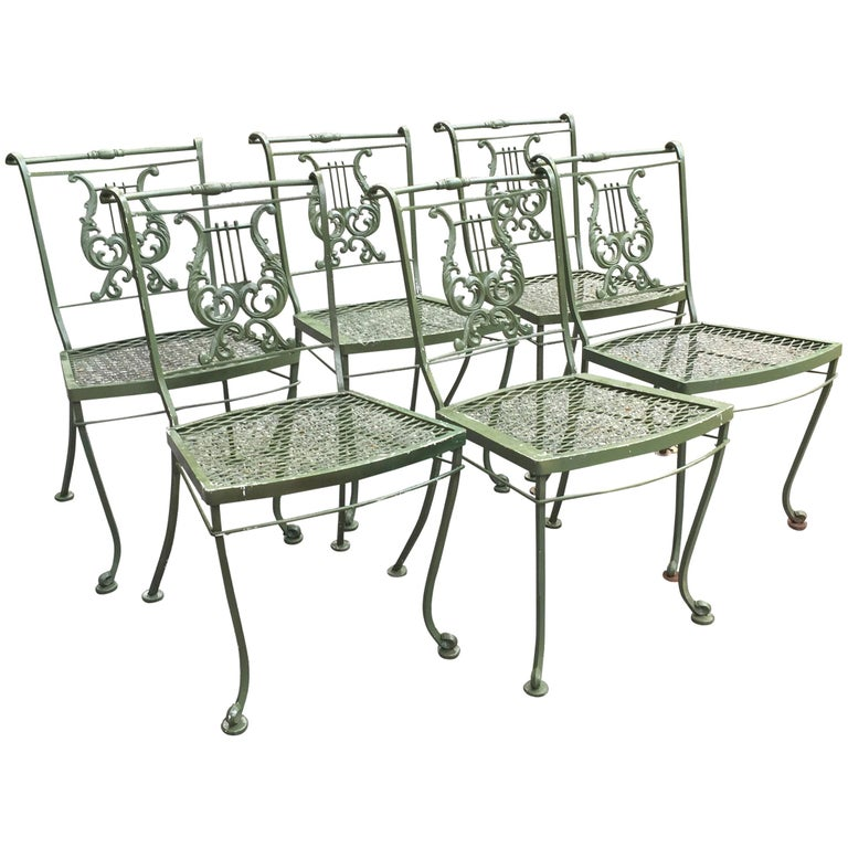 Set Of Vintage Woodard Wrought Iron Lyre Themed Chairs For