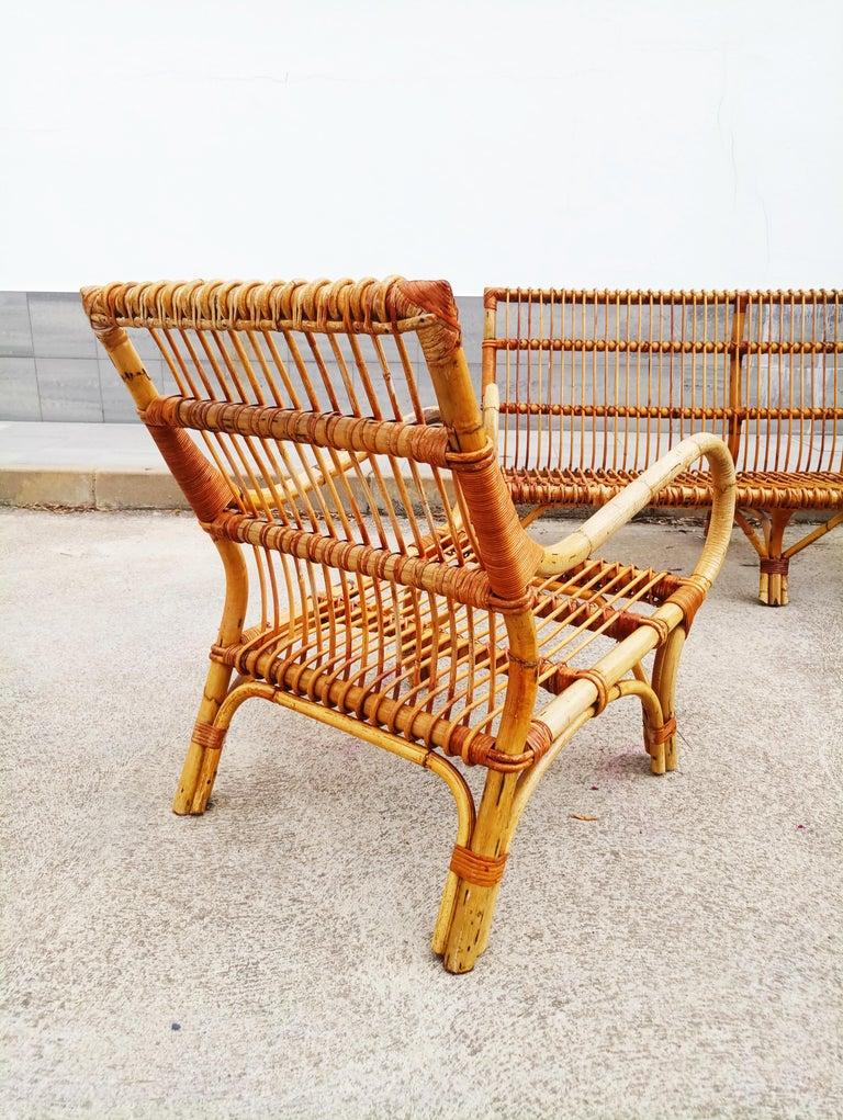 Set of Vittorio Bonacina Bamboo and Rattan Armchair and Sofa, Italy, 1960s For Sale 5