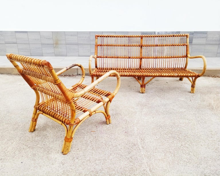 Set of Vittorio Bonacina Bamboo and Rattan Armchair and Sofa, Italy, 1960s For Sale 6