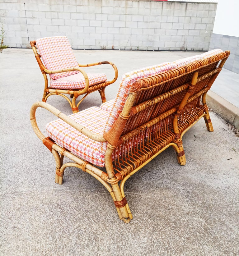 Italian Set of Vittorio Bonacina Bamboo and Rattan Armchair and Sofa, Italy, 1960s For Sale