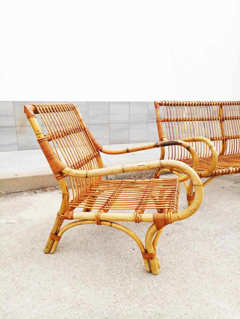 Set of Vittorio Bonacina Bamboo and Rattan Armchair and Sofa, Italy, 1960s In Good Condition For Sale In L'Escala, ES