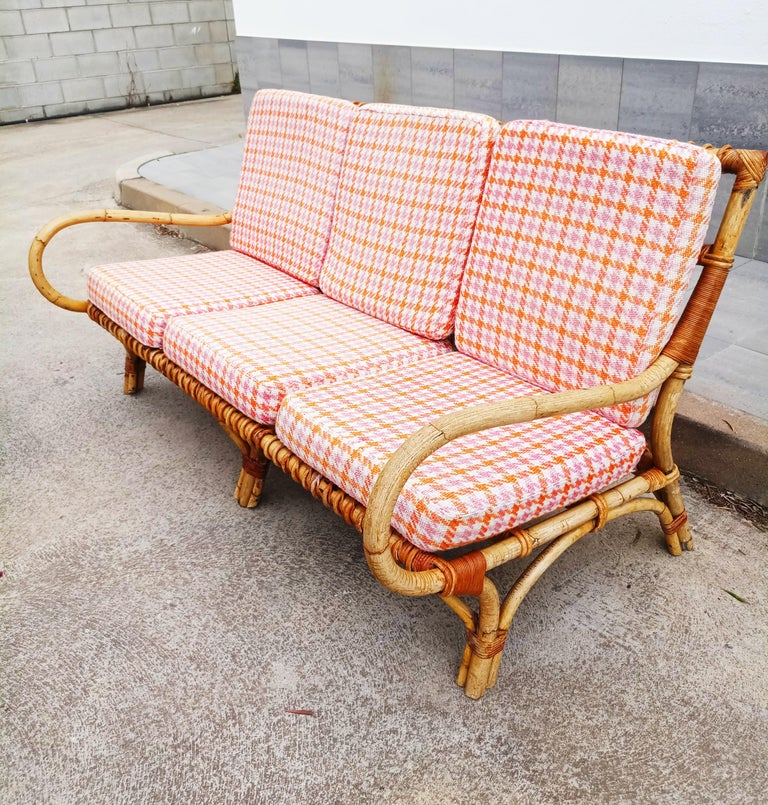 20th Century Set of Vittorio Bonacina Bamboo and Rattan Armchair and Sofa, Italy, 1960s For Sale