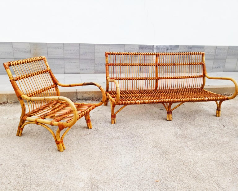 Set of Vittorio Bonacina Bamboo and Rattan Armchair and Sofa, Italy, 1960s For Sale 1