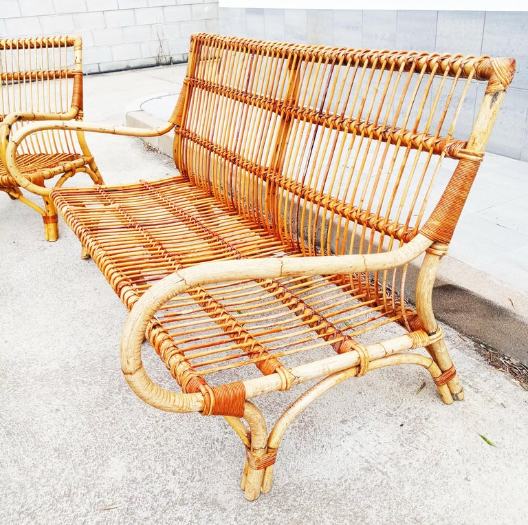 Set of Vittorio Bonacina Bamboo and Rattan Armchair and Sofa, Italy, 1960s For Sale 4