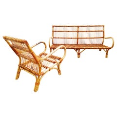 Set of Vittorio Bonacina Bamboo and Rattan Armchair and Sofa, Italy, 1960s