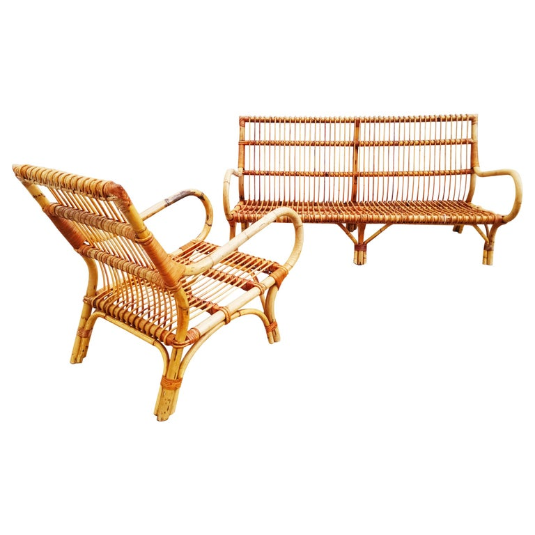 Set of Vittorio Bonacina Bamboo and Rattan Armchair and Sofa, Italy, 1960s For Sale