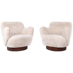 Set of Vladimir Kagan  Swivel Lounge Chairs Shearling + Rosewood