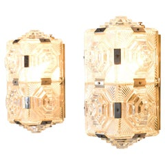 Set of Wall Lights with Structured Glass
