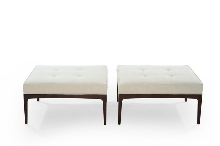 Pair of benches in the style of Paul McCobb, walnut bases fully restored. Re-upholstered in off-white twill by Holly Hunt.