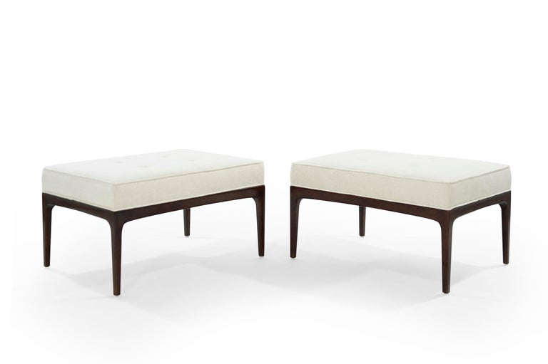 Set of Walnut Mid-Century Modern Benches In Excellent Condition For Sale In Stamford, CT