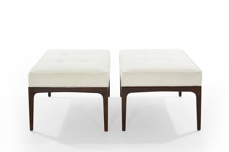 Twill Set of Walnut Mid-Century Modern Benches For Sale