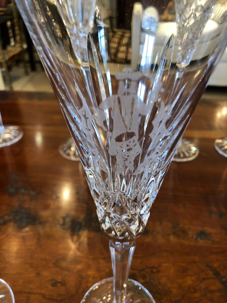 Set of Waterford Crystal 12 Days of Christmas Champagne Flutes For Sale 1