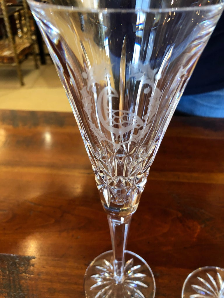 Set of Waterford Crystal 12 Days of Christmas Champagne Flutes For Sale 3