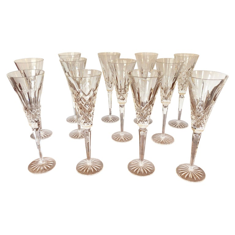 Set of Waterford Crystal 12 Days of Christmas Champagne Flutes For Sale