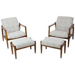 Set of White and Aqua Vintage Armchairs and Stools, Edmund Homa, 1960s