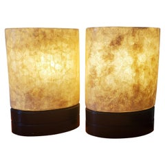 Set of White Fiber Glass Table Lamps Small