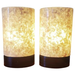 Set of White Fiber Glass Table Lamps Tall