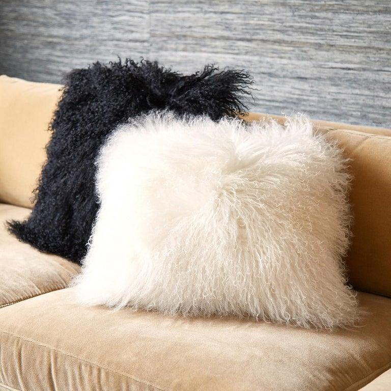 Bohemian Set of White Mongolian Lamb Hair Throw Pillows For Sale