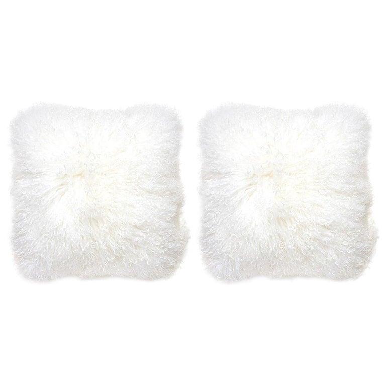 Set of White Mongolian Lamb Hair Throw Pillows For Sale