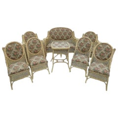 Set of White Rattan Seats by Costanzo Luciano Italy, Catania, circa 1920