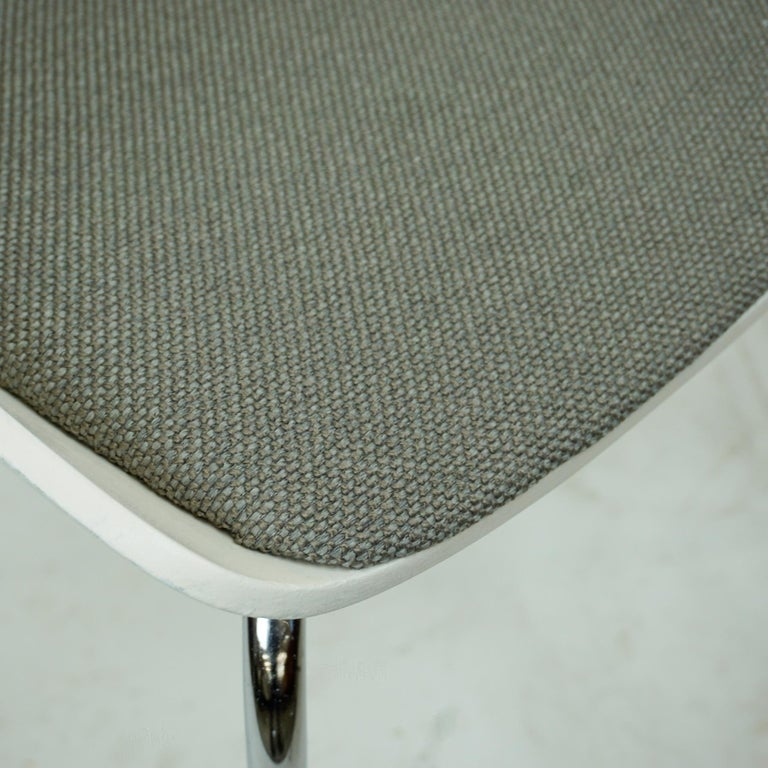 Set of White Space Age Plywood and Grey Fabric Chairs by Eugen Schmidt Germany 9