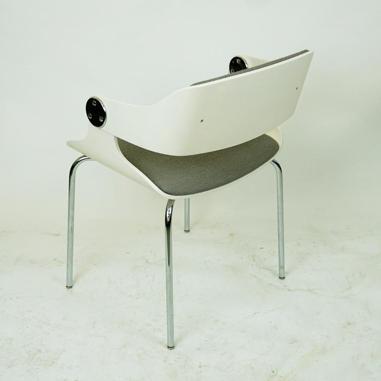 Metal Set of White Space Age Plywood and Grey Fabric Chairs by Eugen Schmidt, Germany For Sale