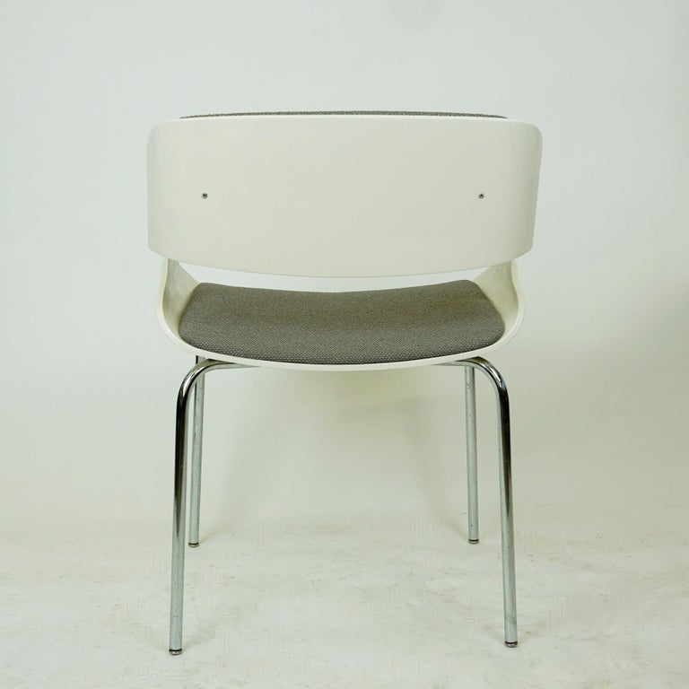 Set of White Space Age Plywood and Grey Fabric Chairs by Eugen Schmidt Germany 1