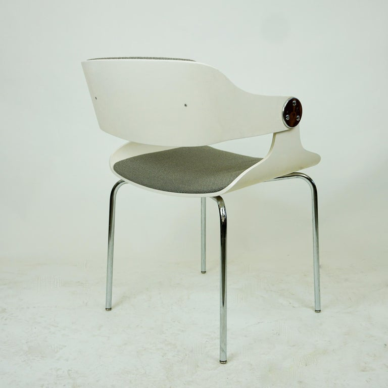 Set of White Space Age Plywood and Grey Fabric Chairs by Eugen Schmidt Germany 2